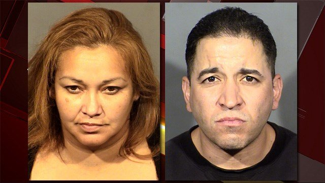 Jamie Olivas and Isaac Almaguer were arrested in connection to the beating of a 66-year-old woman. (LVMPD)