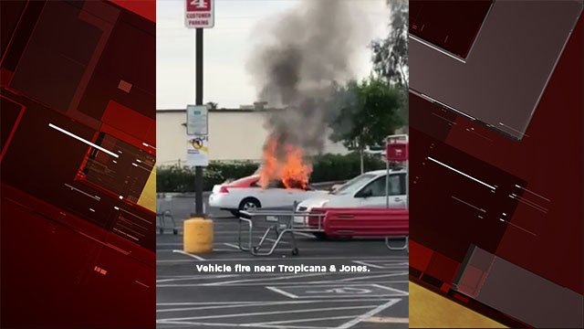 Vehicle in flames near Tropicana Avenue and Jones Boulevard on April 23, 2017. (Joshua Wharram/Facebook)