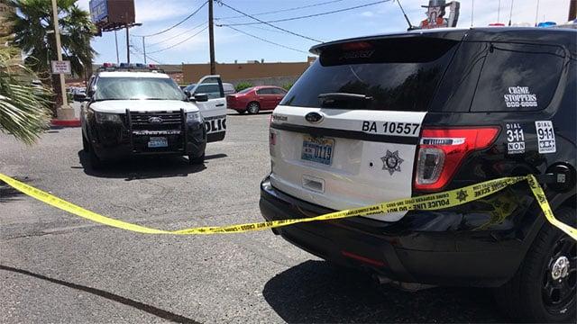 Metro at the scene of a homicide investigation near Bonanza Road and Rancho Drive on April 23, 2017. (Austin Turner/FOX5)