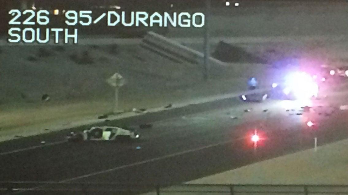 A crash closed US 95 near Durango Drive Tuesday night. (LVACS)