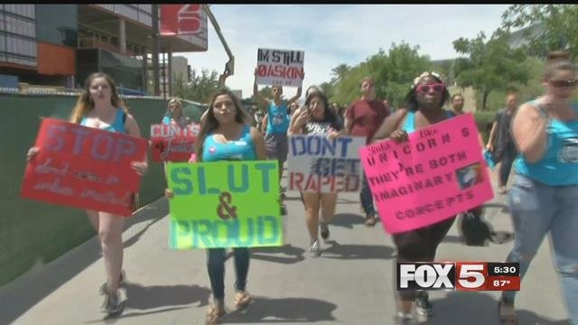 UNLV held the 'slut walk' to encourage an end to rape culture. (FOX5)