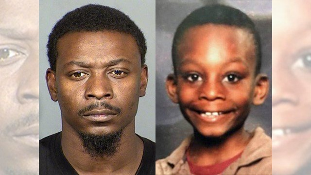 Paul Jones, left, was charged with murder in the death of his child Aaron Jones, right. (Left: LVMPD; right: NCMEC)