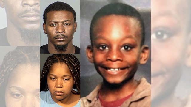 Paul Jones, top left; Latoya Williams-Smiley, bottom left; Aaron Jones, right. (Booking photos: LVMPD; Aaron Jones' photo: NCMEC)