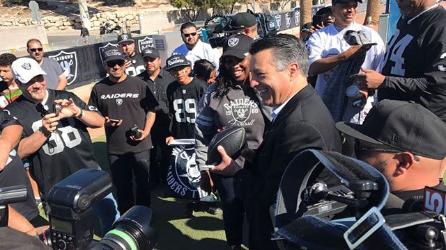Nevada Governor Brian Sandoval on NFL Draft Day 3 on the Las Vegas Strip, April 29, 2017. (Vince Sapienza/FOX5)