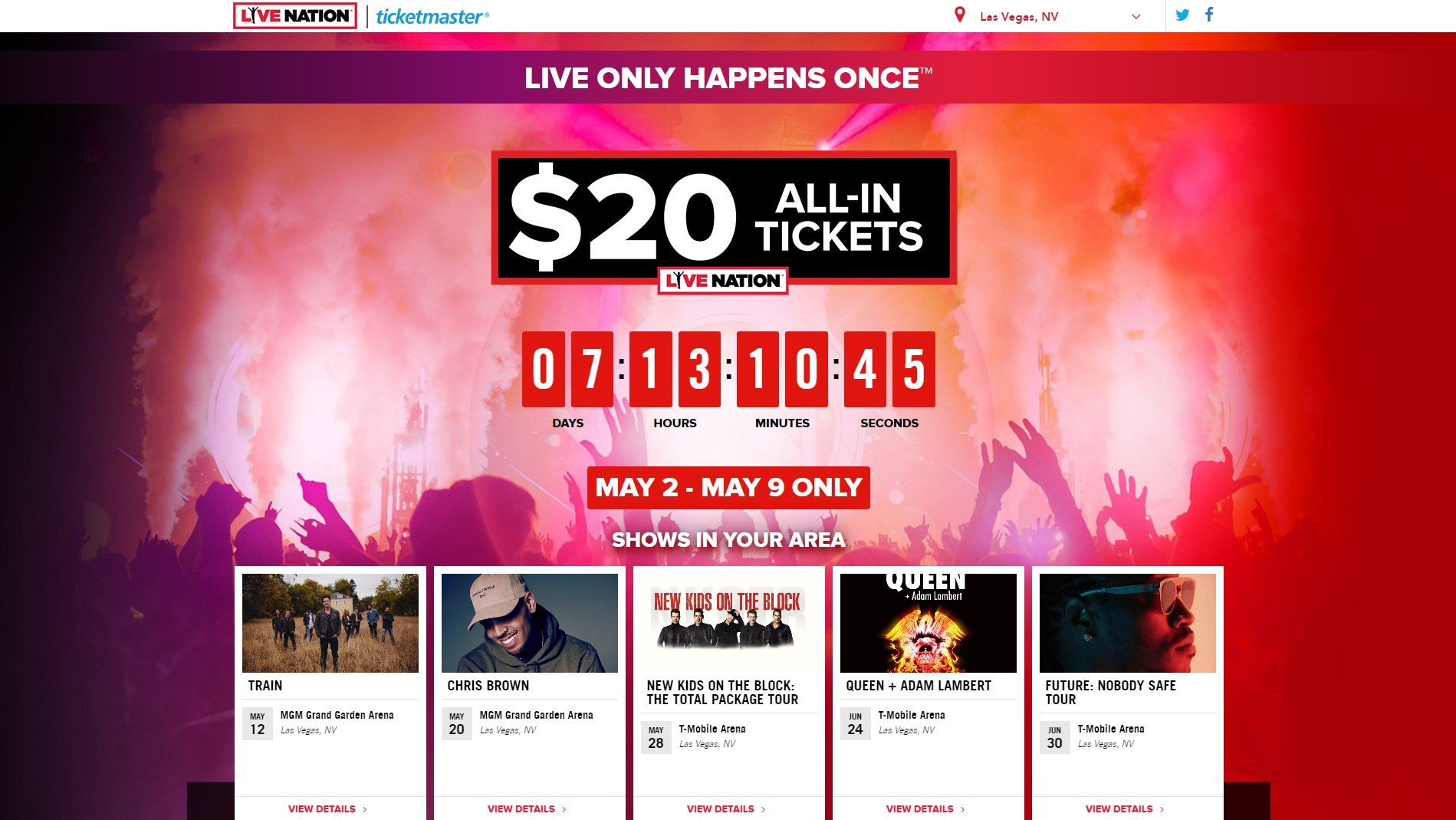 Live Nation began offering tickets to shows for $20 on May 2, 2017. (Source: Live Nation/Ticketmaster)