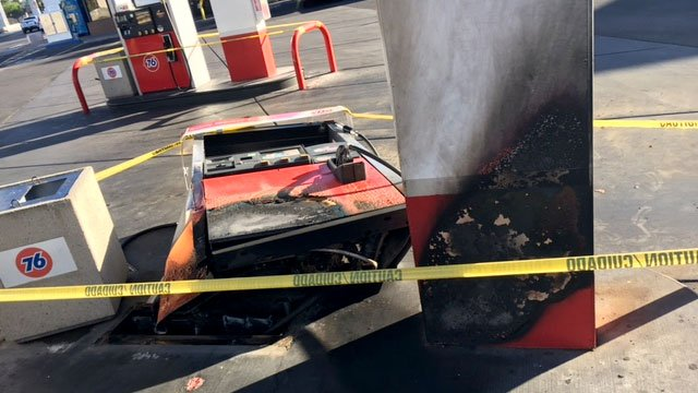 A fire damaged a pump at a gas station on May 2, 2017. (Peter Dawson/FOX5)