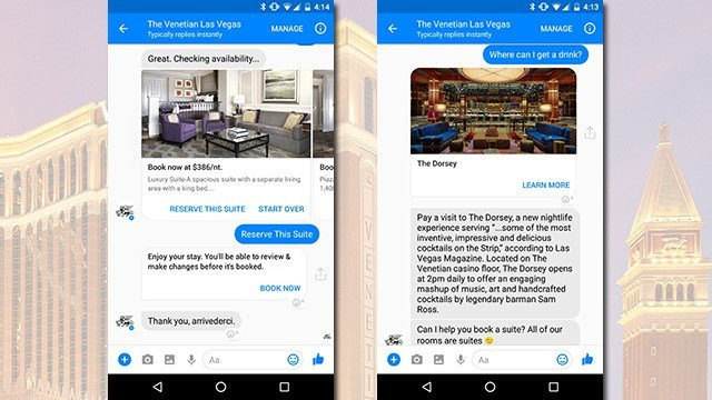 The Venetian on the Las Vegas Strip debuted on May 2, 2017, an active booking system made with the use of Facebook Messenger. (Source: Venetian Las Vegas)