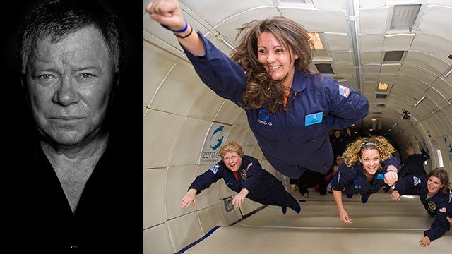 ZERO-G Experience is offering a flight to weightlessness with William Shatner on August 4, 2017. (Source: ManfredBaumann.com, left; ZERO-G Experience)