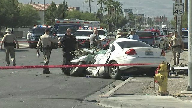 One of the vehicles involved in a critical injury crash at Carey Avenue and Nellis Boulevard on May 4, 2017. (Armando Navarro/FOX5)