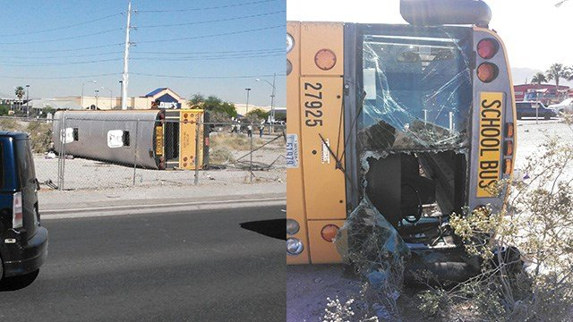 Photos from the scene show a school bus on its side after a crash on May 4, 2017. (FOX5 source)