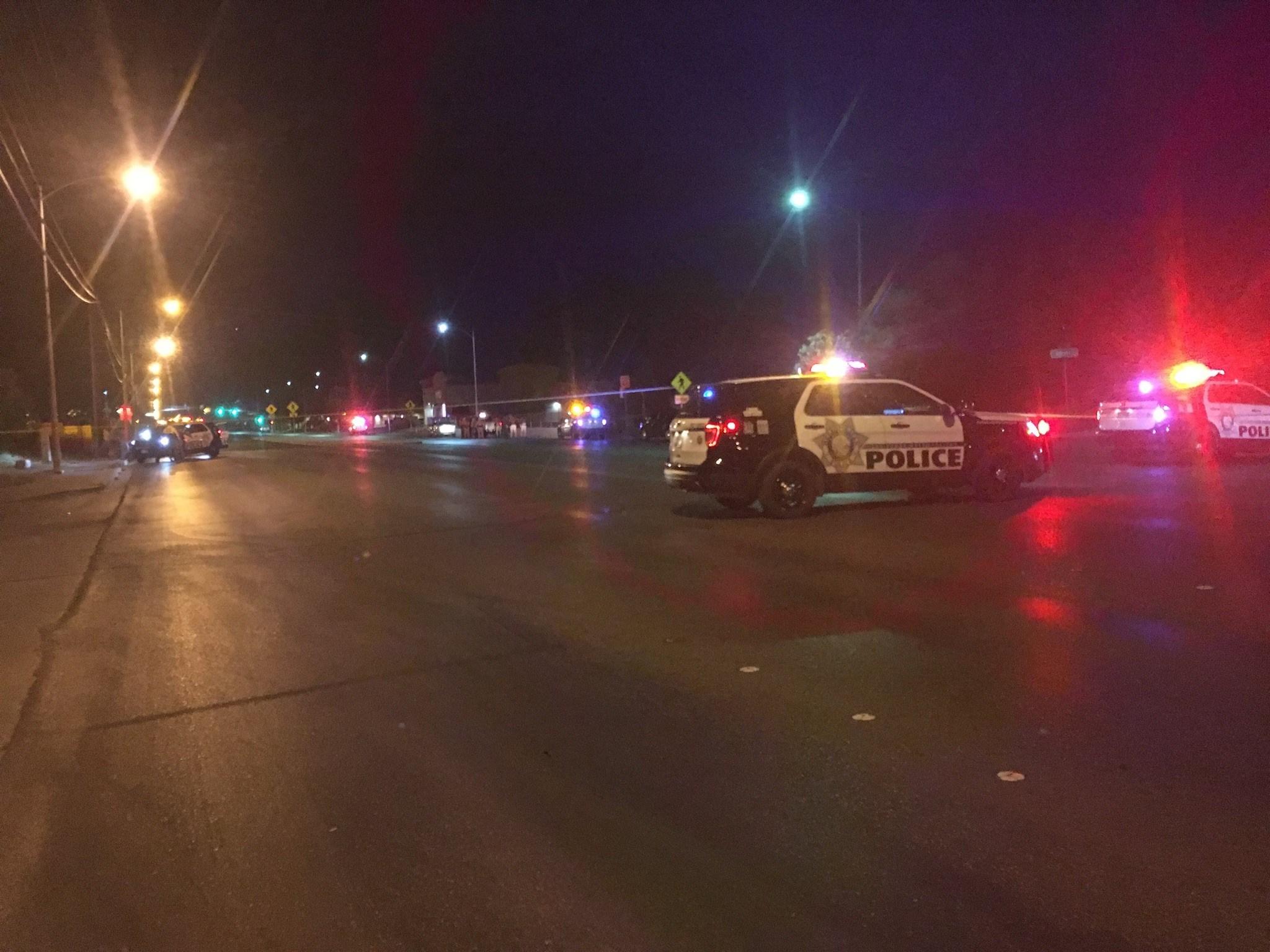 One person is dead from a gunshot wound near Owens and Pecos. (Kurt Rempe / FOX5)