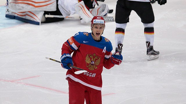 Russia's Vadim Shipachyov celebrates his second goal during the Ice Hockey World Championships quarterfinal match between Russia and Germany, in Moscow, Russia, on Thursday, May 19, 2016. (AP Photo/Ivan Sekretarev)