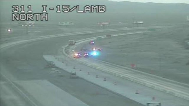 NHP at the scene of a fatal crash on Interstate 15 at Lamb Boulevard on May 6, 2017. (LVACS)