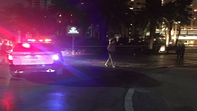 LVMPD responded to the scene of a fatal shooting at the Hilton Grand Hotel on the Strip (Kathleen Jacob/FOX5).