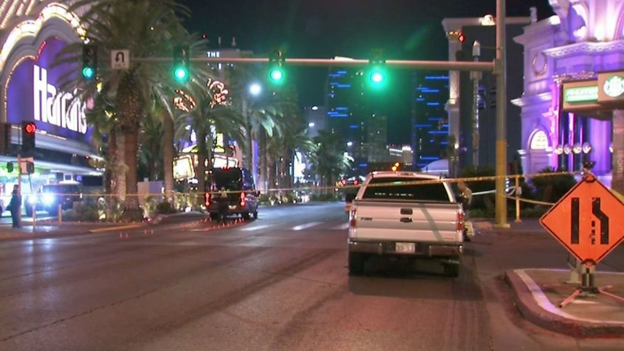 Las Vegas Metro police investigate a crash involving a pedestrian on May 9, 2017. (Luis Marquez/FOX5)