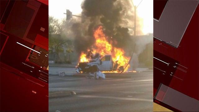 A vehicle catches fire after a crash on May 9, 2017. (Tamara Lynn Murphy/Facebook)