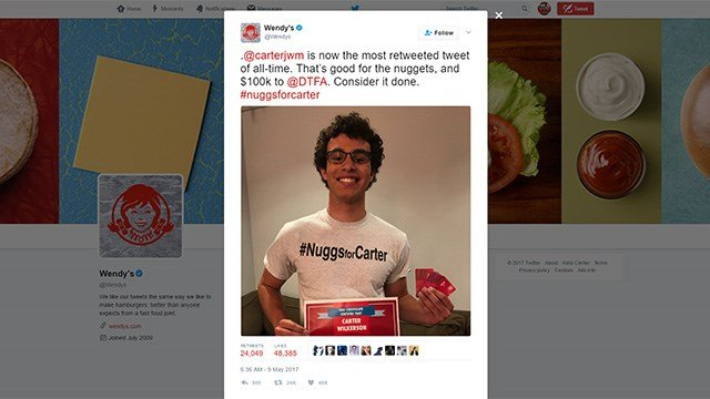 A tweet sent on May 9, 2017, showed Wendy's confirming Carter Wilkinson's record for the most retweets. (Source: Twitter/Wendy's)