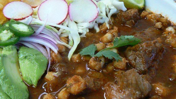 A picture shows a finished posole dish. (Source: Allrecipes)