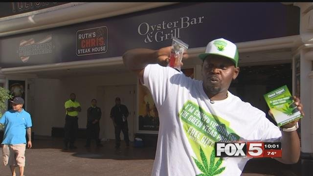 Yogi hands out free marijuana on the Strip to promote the Green Vegas Project. (FOX5)