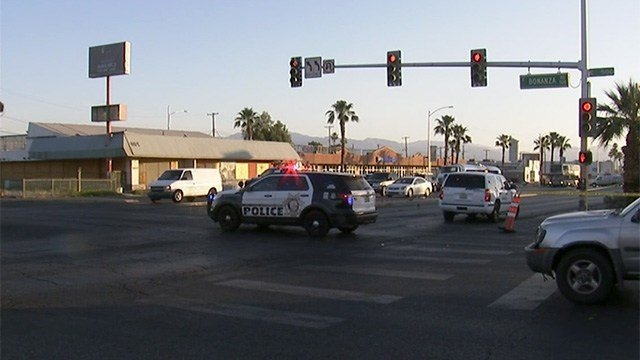 Police blocked the intersection of Las Vegas Boulevard and Bonanza Road after a crash involving a pedestrian on May 11, 2017. (FOX5)
