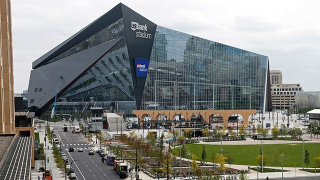 In this photo taken Thursday, Sept. 15, 2016, US Bank Stadium, the new home of the NFL Minnesota Vikings football team, is shown in Minneapolis. (AP Photo/Jim Mone)