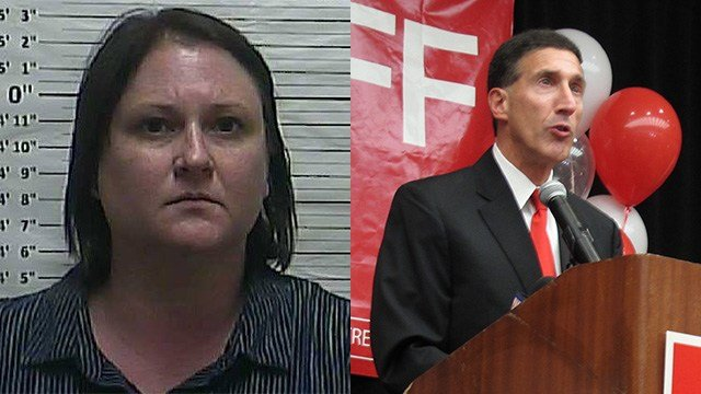 Wendi L. Wright, left, was arrested after a car incident involving Rep. David Kustoff, R-TN. (Left: Weakley County Sheriff's Dept./Facebook; right: AP Photo)