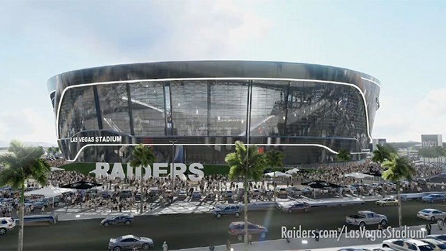 Rendering shows the outside of the Las Vegas Raiders stadium. (Source: Raiders.com)