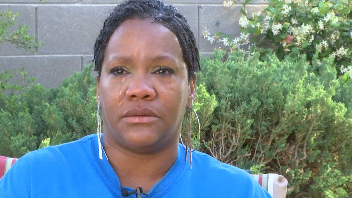 Rocquell Love sheds a tear as she talks about her daughter, Faith. (Miguel Martinez-Valle/FOX5)