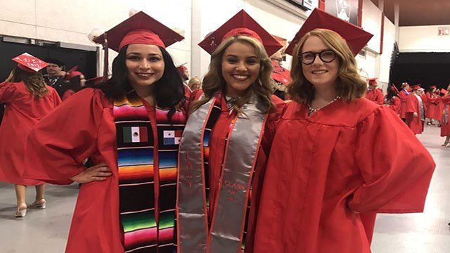 Spring UNLV grads Jennifer  Hurtado, Cassie Soto and Valarie Peritz at the morning ceremony on May 13, 2017. (FOX5)