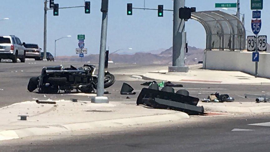 Nevada Highway Patrol investigates a critical crash on May 13, 2017. (Alyssa Deitsch/FOX5)