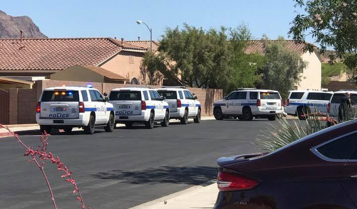 Henderson Police tried to get a man out of a home after a report of a shooting. (Source: Sarah Baumgartner)