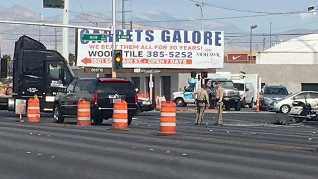 A crash involving a semi-truck and a sedan closed Charleston Boulevard at Main Street on May 15, 2017. (FOX5 viewer photo)