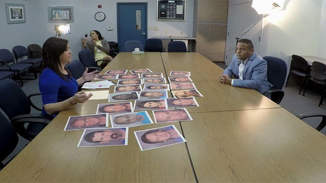 The booking photos of those arrested while employed at Clark County School District were laid out before CCSD's director of human resources. (FOX5)