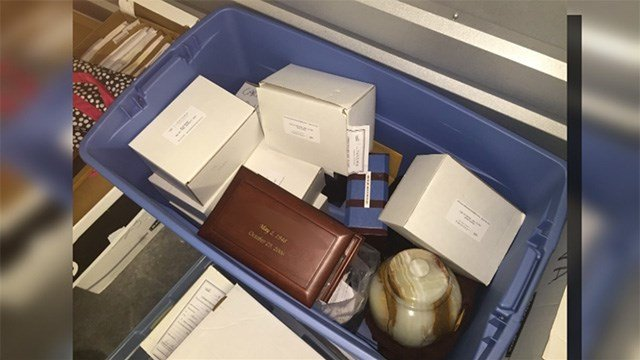 A man found 27 urns in a storage unit he won at auction. (FOX5)