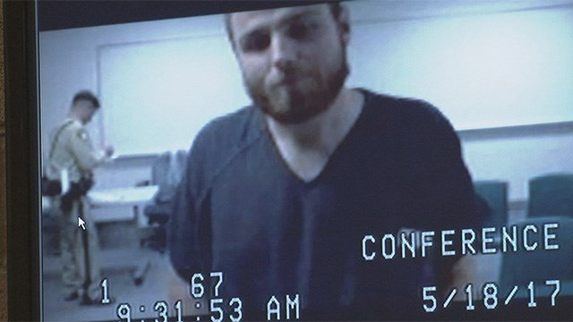 Russell Fotter appeared in a North Las Vegas courtroom via video conference on May 18, 2017. (FOX5)