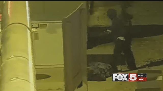Police used a decoy disguised as a homeless man to catch a man attacking it on camera. (LVMPD)