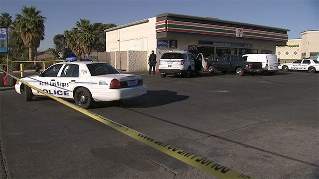 Police tape off a 7-Eleven convenience store near Lake Mead Boulevard and Pecos Road on May 22, 2017. (FOX5)