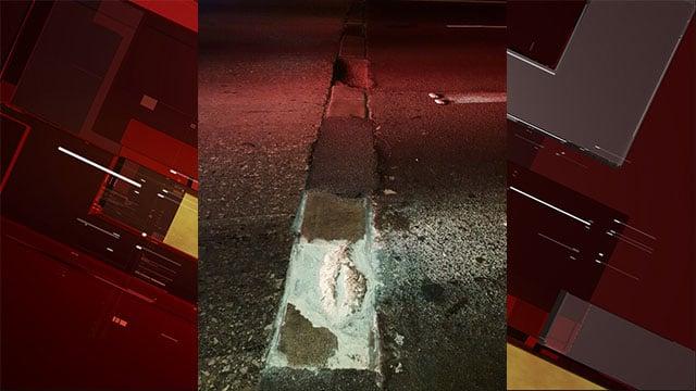 Broken asphalt caused a closure at the Spaghetti Bowl on May 23, 2017. (NHP)
