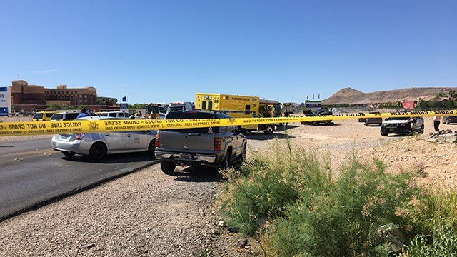 Police tape blocks an area of Fort Apache and Post roads in the southwest Las Vegas Valley after a school bus crash on May 25, 2017. (Jason Westerhaus/FOX5)