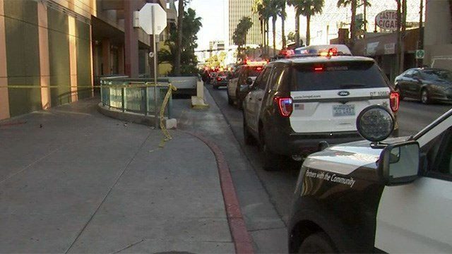 Las Vegas Metro police investigated a reported shooting in the underground garage of the Neonopolis in downtown on May 26, 2017. (Armando Navarro/FOX5)