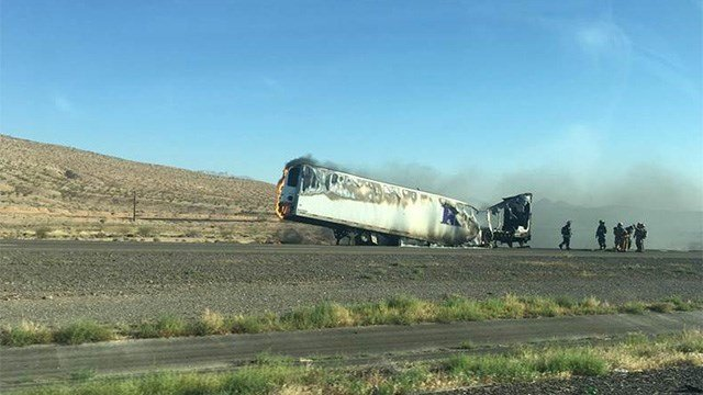 A big-rig fire blocked lanes of I-15 near Moapa, NV, on May 26, 2017. (FOX5 viewer submission)