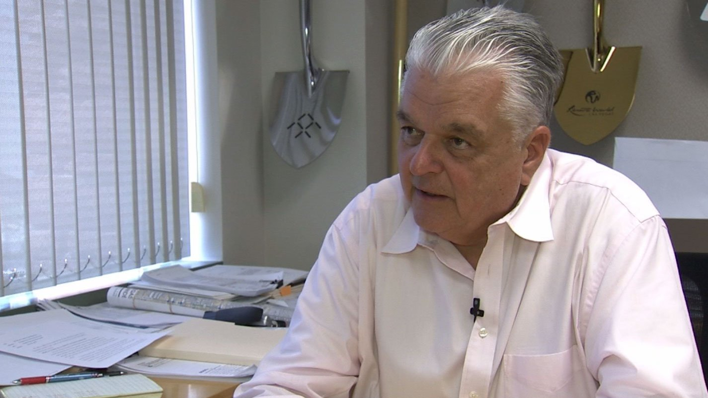 Clark County Commissioner Steve Sisolak speaks to FOX5 on the community benefits agreement. (Vince Sapienza/FOX5)
