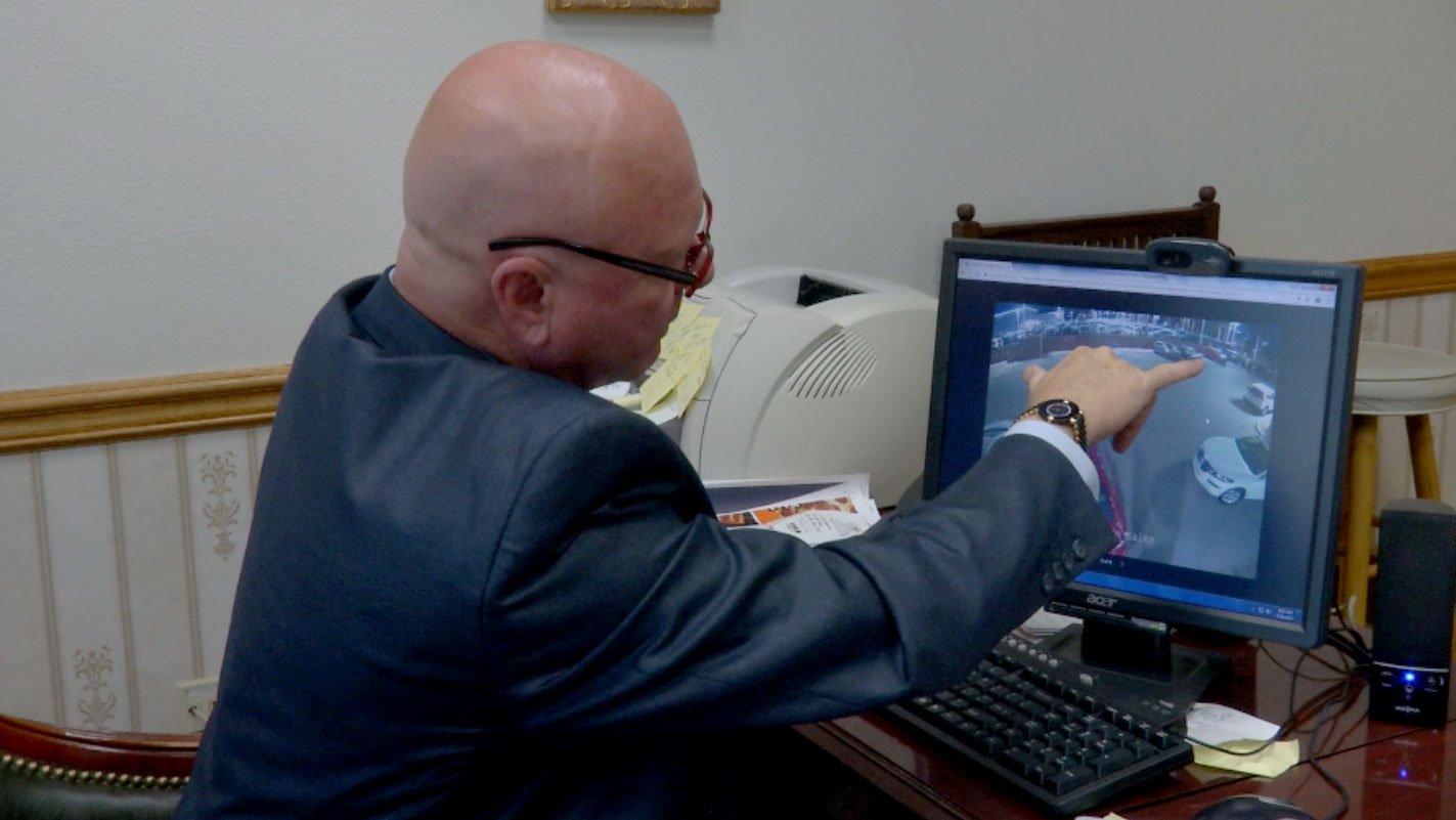 Surveillance video captured car thieves stealing from a Las Vegas dealership. (Faith Tanner/FOX5)