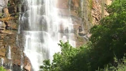 Crews were searching for a 4-year-old girl who had gotten into the Provo River near the Bridal Veil Falls in Utah County, Utah, on May 29, 2017. (Source: KSL-TV/CNN)