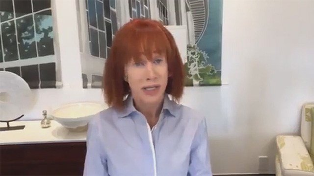 Kathy Griffin posted video of her apology on May 30, 2017, after a graphic photo of her holding a severed phony head of President Trump went public.
