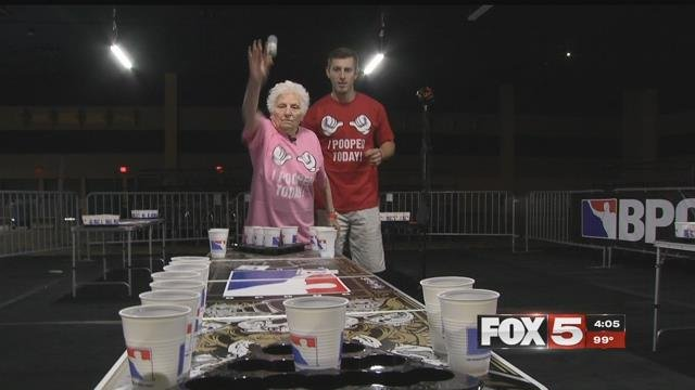 """""""Beer pong Granny"""" takes on World Series in Vegas. (FOX5)"""