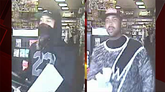 Two armed robbers are wanted after targeting a business on April 16, 2017 (NLVPD/FOX5).