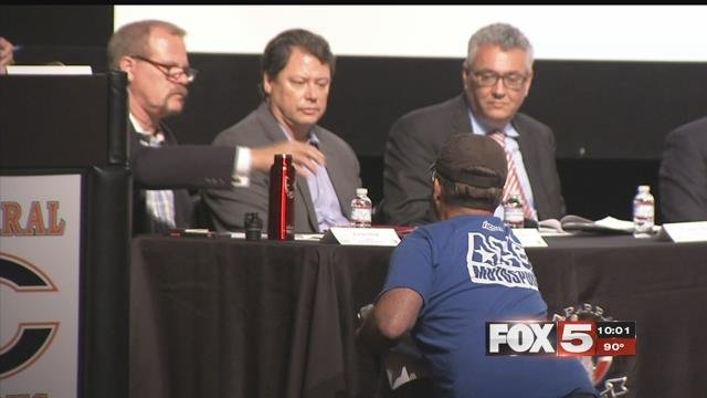 CCSD held a community roundtable to discuss a new policy on student-teacher contact. (FOX5)