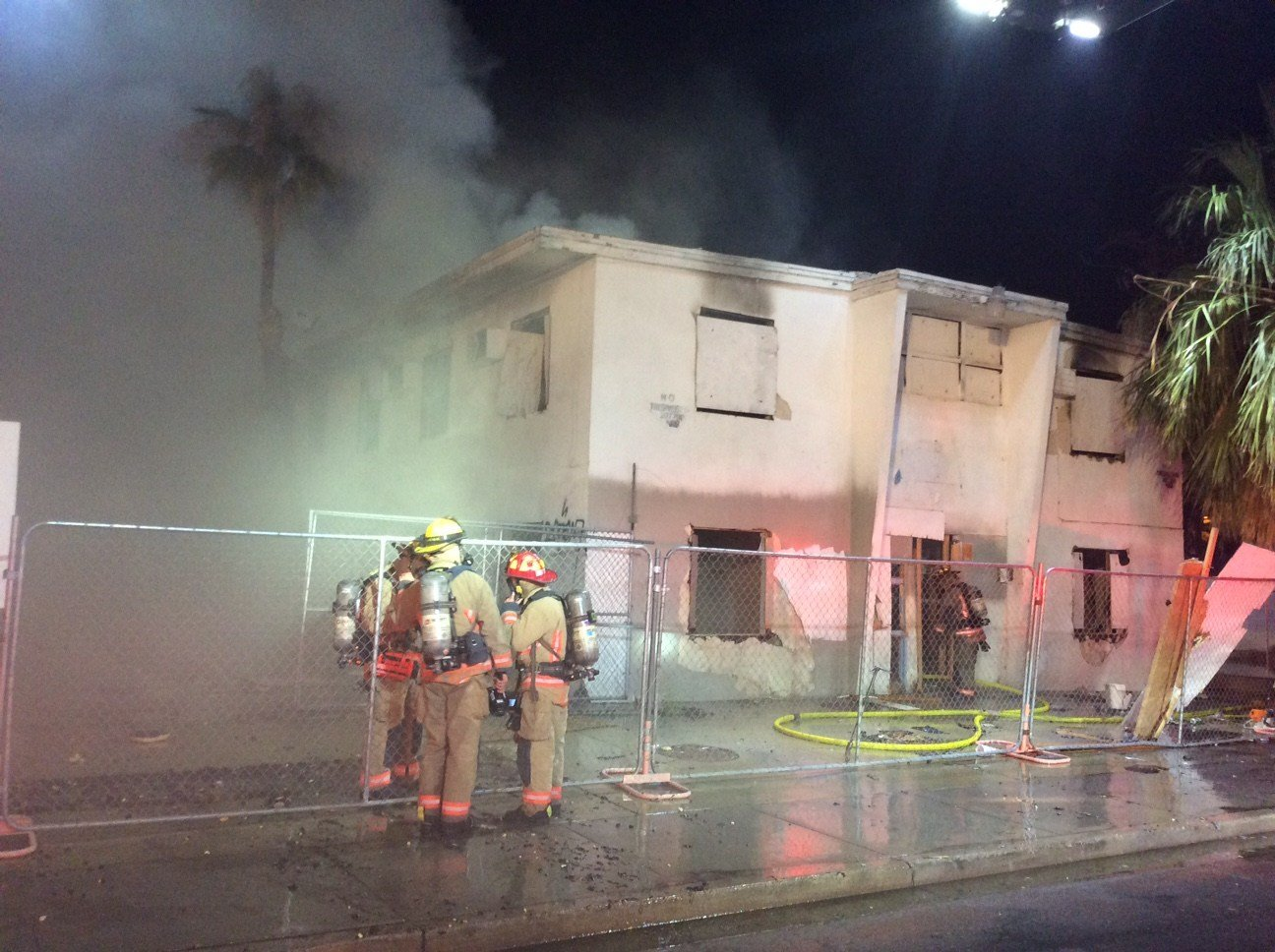 A fire gutted a vacant apartment building in downtown Las Vegas Friday. (Source: LVFR)