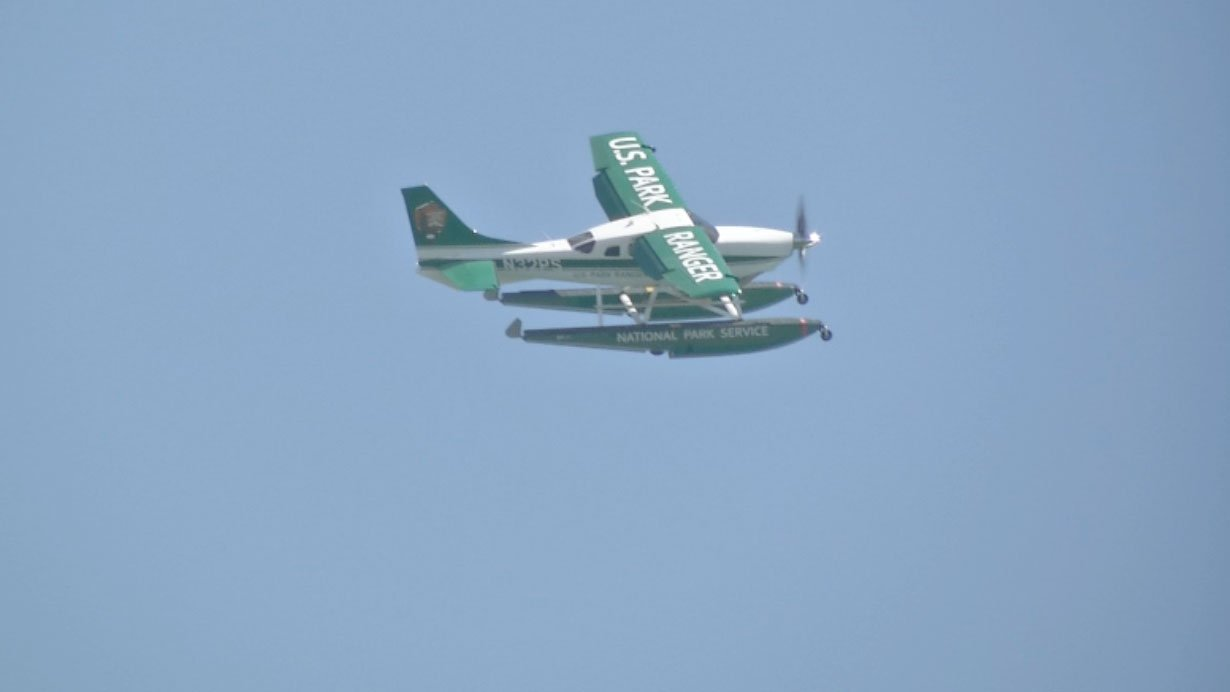 A plane has been upgraded to help authorities get to emergencies faster on Lake Mead. (Kathleen Jacob/FOX5)
